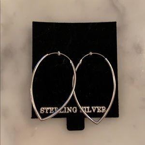 NWOT Sterling silver pointed hoop style earrings